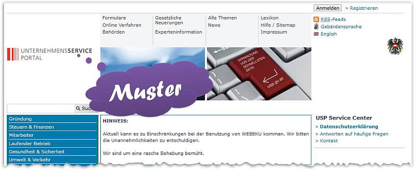 Screenshot Header Homepage Unternehmensserviceportal